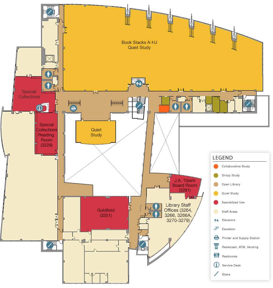 Unlv Libraries Lied Library Floor Plans Third Floor