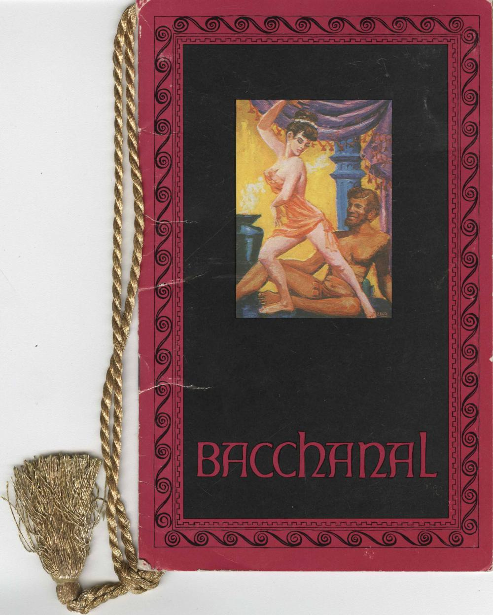 Menu for an event at Bacchanal in Caesars Palace, Las Vegas c. late 1960s