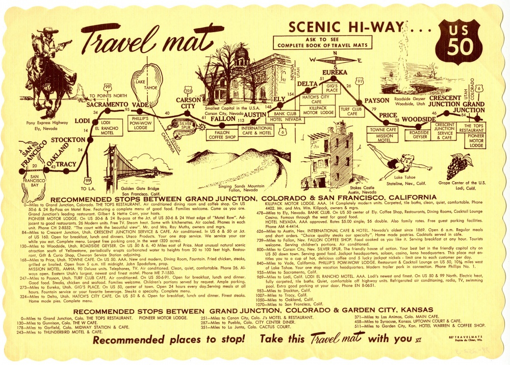 US 50 travel placemat with drawing of scenery and destinations along highway with text description below