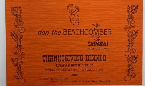 Orange menu from Don the Beachcomber restaurant
