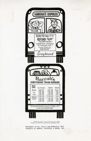 1962 advertisement by Hoefer, Dieterich, & Brown, Inc. designed to entice people in the San Francisco Bay Area to spend the weekend at Harrah's Tahoe spending money on games, drinks, and food.