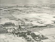 Example black and white photograph from the University Archives showing an aerial view of UNLV.