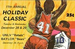 Example color illustration of historic UNLV publications and athletic programs showing the 11th Annual Holiday Classic basketball games.