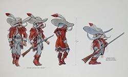 Drawing showing the evolution of the UNLV Rebel mascot, 1980s.