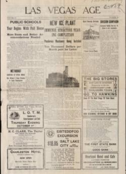 Historical front page of the Las Vegas Age newspaper