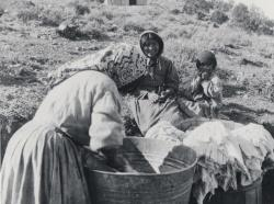 Example image from the Lincoln County Museum Collection of a Paiute woman and children washing clothes in a metal basin.