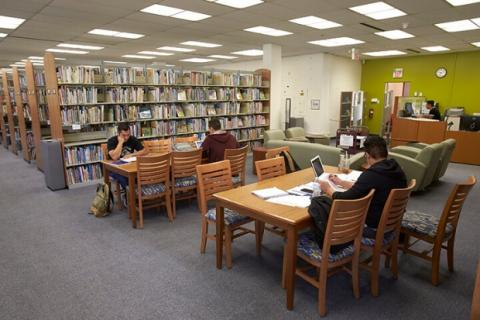 Students studying at tables in the Teacher Development and Resources Library