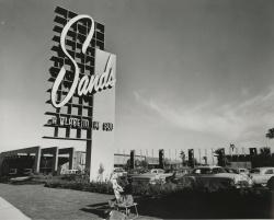 Example black and white photograph from the Dreaming the Skyline digital collection of the sign for the Sands hotel.