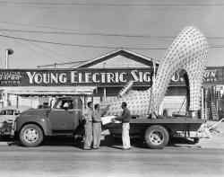 Giant Silver Slipper electric sign loaded on the back of a flatbed truck in front of Young Electric Sign Company building, 1958.
