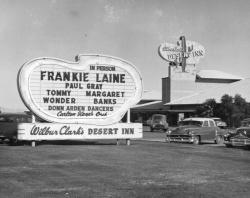 Example photograph from the Dreaming the Skyline digital collection shows casino marquee for Wilbur Clark's Desert Inn.