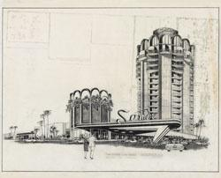 Architectural drawing of the Sands Hotel tower, 1963.