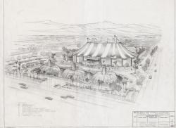 Architectural design drawing of the Circus Circus Hotel and Casino, 1976.