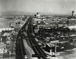 Example black and white photograph of a Las Vegas street from the Dreaming the Skyline digital collection.