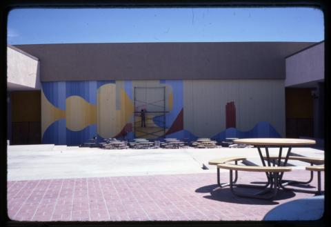 Mural painting at Bonanza High School, Las Vegas, Nevada, 1970s