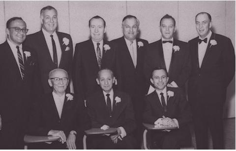 Example photograph from the Southern Nevada Jewish Community Digital Heritage Project showing past presidents of the Temple Beth Shalom photographed together, ca. 1960.