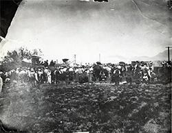 People standing outside at Clark's Las Vegas Townsite auction, May 1905.