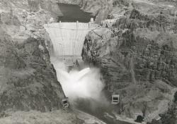Example black and white photograph from the University Archives showing an aerial view of the Hoover Dam.